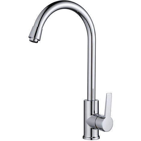 Single Lever Mixer Tap Kitchen Tap Mixer for Washbasin Mixer Tap for Washbasin 360 ° Rotating Tap with White Handle for Kitchen
