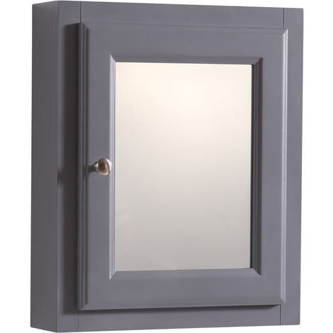 Single Mirror Door Cabinet Wall Mounted Bathroom Storage Unit 500 x 600mm Grey