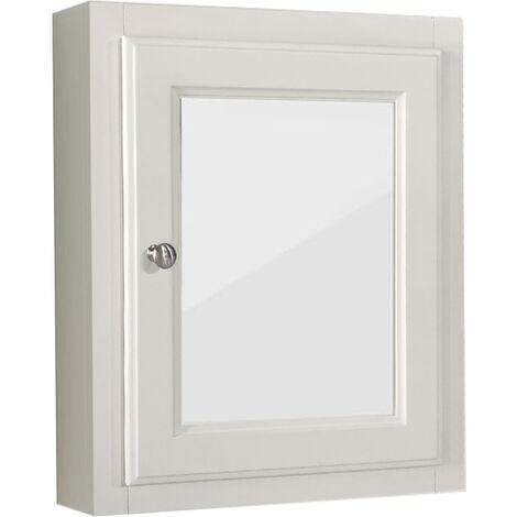 Single Mirror Door Cabinet Wall Mounted Bathroom Storage Unit 500 x 600mm Ivory White
