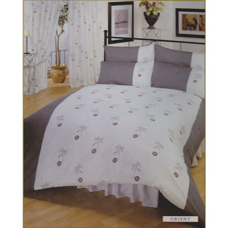Single Orient Bumper Bedding Set Including Curtains (Single Bed) (White/Grey)