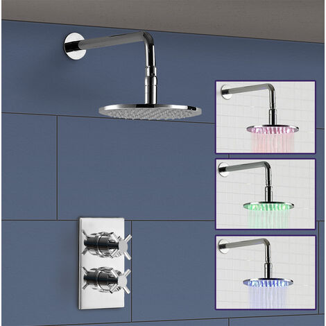 Single Outlet Concealed Thermostatic Shower, 300mm Round Shower Arm and ABS 200 LED Shower Head - ROUND