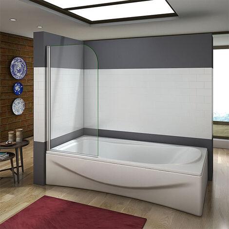 "main image of ""800x1400mm 180 degree Pivot Safety Glass Over Bath Shower Door Panel Screen,Towel Rail Optional"""