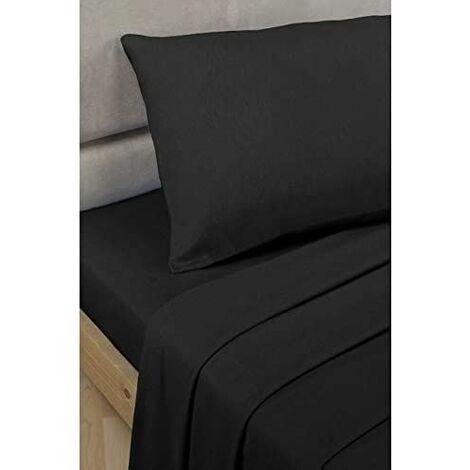 Single Percale Flat Sheet Black - R