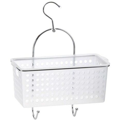 Single Shower Caddy Plastic Basket - White & Chrome