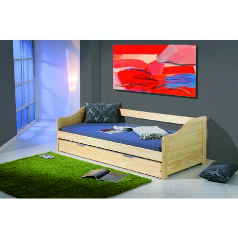 Single sofa bed with pull-out bed, oak colour, 97 x 209 x 66 cm
