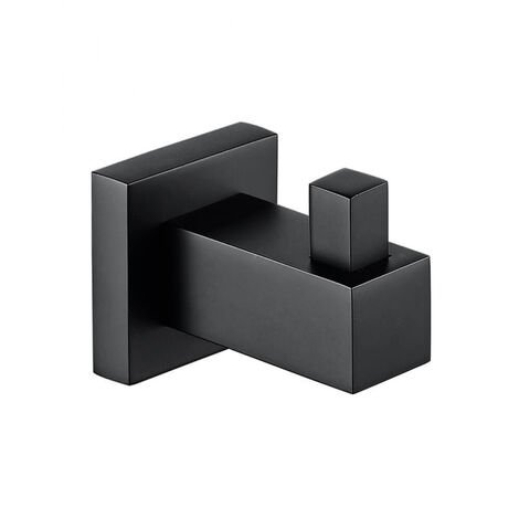 Single Square Robe Hook Matte Black