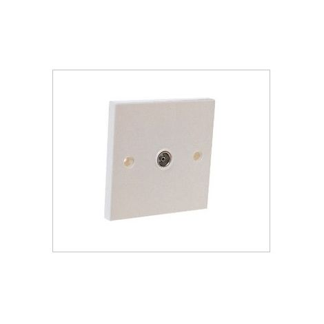 Single TV Aerial Coax Wall Plate 1 Gang Flush Socket by Dencon Standard  White