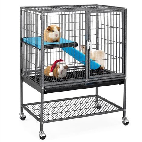 """main image of """"Single Unit Small Animal Cage for Rats/Ferrets/Chinchillas/Guinea Pigs with Removable Ramp & Platform Black"""""""