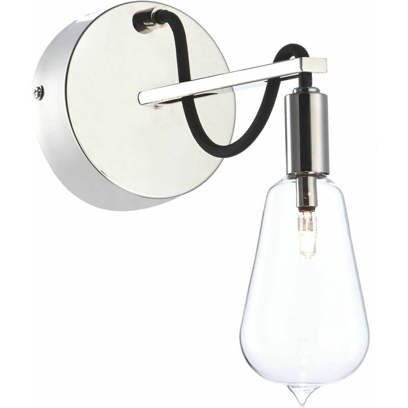 Image of 1-light polished nickel and glass scroll wall light