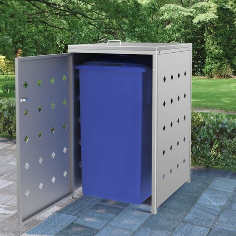 Single Wheelie Bin Shed 240 L Stainless Steel - Silver