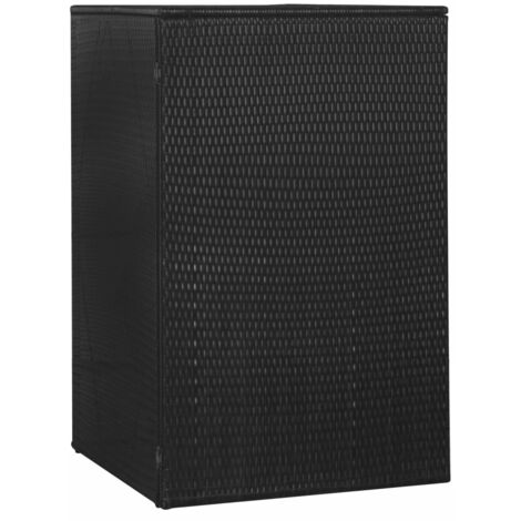 Single Wheelie Bin Shed Black 76x78x120 cm Poly Rattan - Black