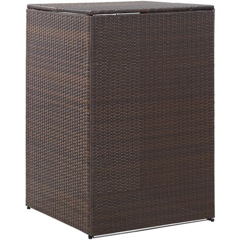 Single Wheelie Bin Shed Brown 76x78x120 cm Poly Rattan