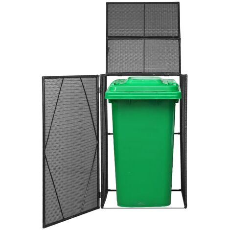 Single Wheelie Bin Shed Poly Rattan 76x78x120 cm Black - Black