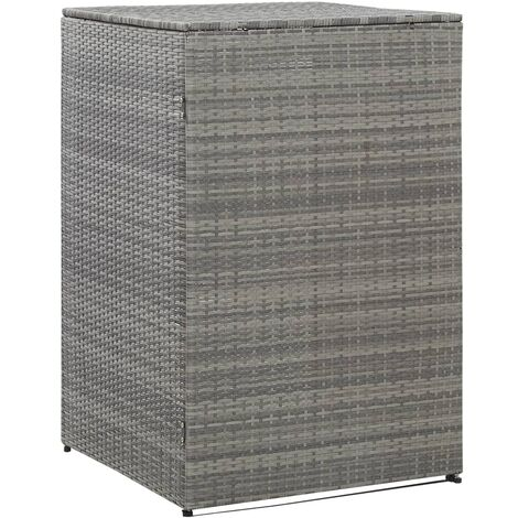 Single Wheelie BinShed Anthracite 76x78x120 cm Poly Rattan