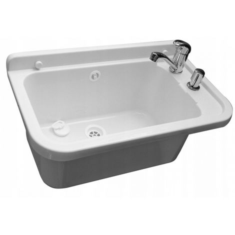 Sink basin utility chamber faucet