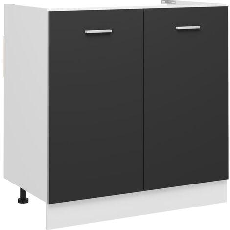 Sink Bottom Cabinet Grey 80x46x81.5 cm Chipboard