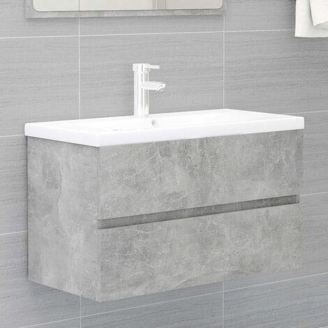 Sink Cabinet Concrete Grey 80x38.5x45 cm Chipboard