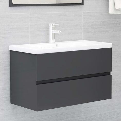 Sink Cabinet Grey 80x38.5x45 cm Chipboard
