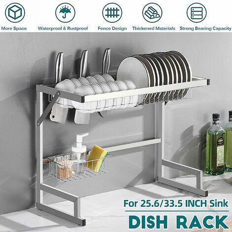 "main image of ""Sink Drainer Dish Drying Rack Kitchen Shelf Storage Basket Counter Space Saving Shelf Stainless Steel Storage Display Rack (65cm)"""