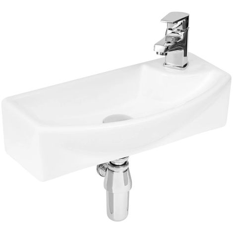 Sintra 450mm x 220mm Left Hand Wall Hung Basin with 1 Tap Hole