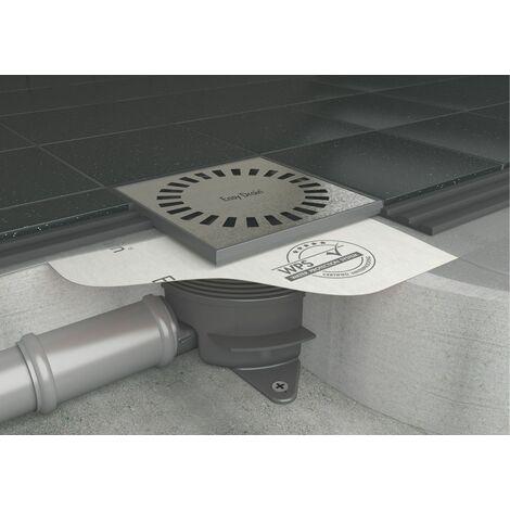 Siphon AQUA BRILLIANT WPS - Bonde de sol avec bavette et raccord horizontal et vertical - 15 x 15 cm