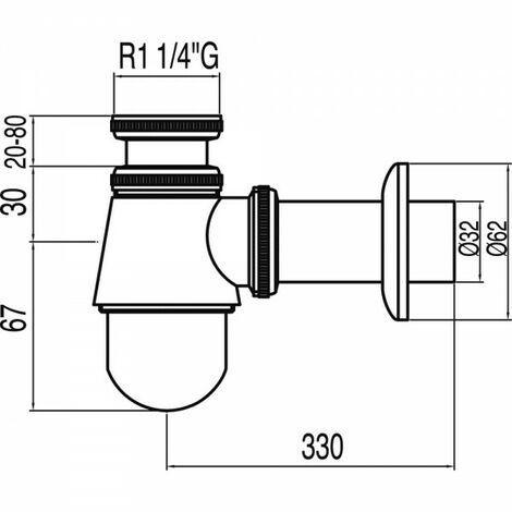 Siphon bouteille avec bouchon de visite pour bidet - TRES 13463440