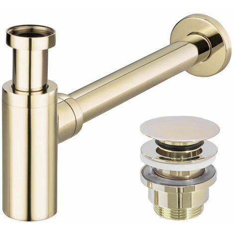 Siphon de bassin de bouteille de rebut en laiton de couleur dorée brillante + drain d'évier de clic-clack