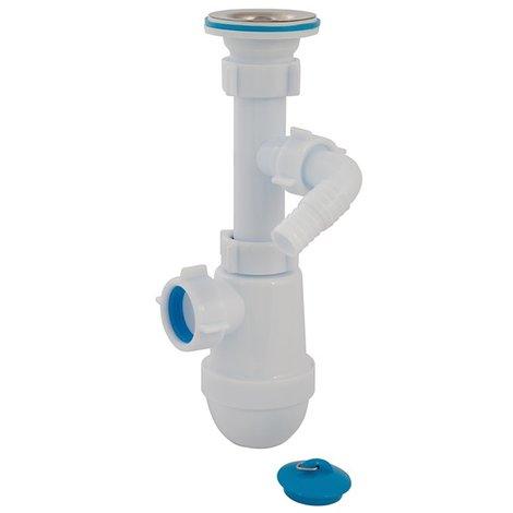 Siphon de lavabo apparent télescopique avec trou de sortie - 40 mm