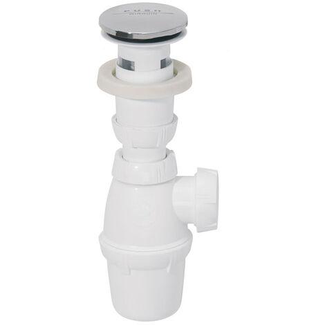 Siphon de lavabo réglable en hauteur et bonde Quick-Clac - sp500 ens lavabo siph + bde quick clac chr ss trop plein pro - Wirquin Pro - 30717708