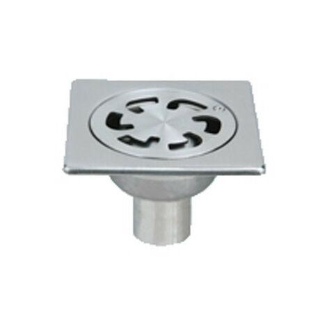 Siphon de sol inox Solusec 100x100 mm - sortie verticale Ø40