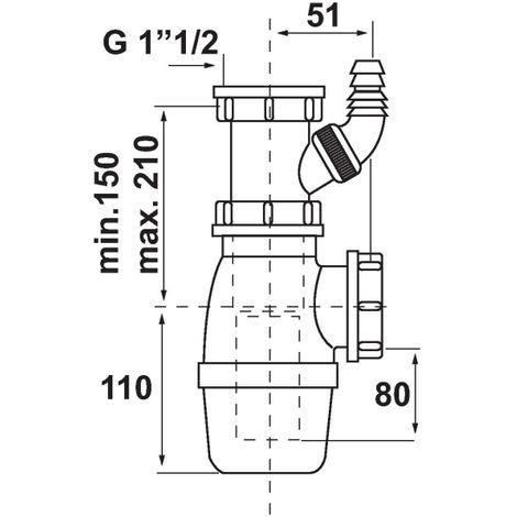 Siphon d'évier avec prise M.A.L. - 1'1/2 - Ø 40 mm