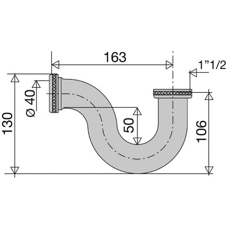 Siphon d'évier laiton chromé - 1'1/2 - Ø 40 mm - Valentin