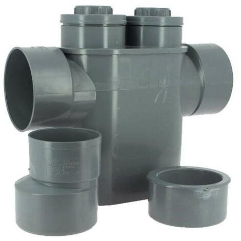 Siphon disconnecteur monobloc PVC, Evac Ø 125/100, anti-remontée d'odeurs