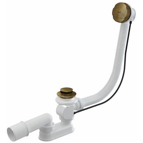 Siphon flexible de vidange de tuyau de débordement de baignoire avec des fins en laiton antique