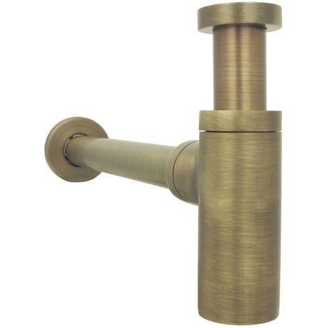 Siphon für Waschbecken Antik Braun Retro Messing Flaschnesiphon Geruchsverschluss Rohrensiphon verstellbar Nostalgie