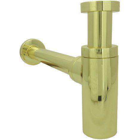 Siphon für Waschbecken Gold Retro Messing Flaschnesiphon Geruchsverschluss Rohrensiphon verstellbar Nostalgie