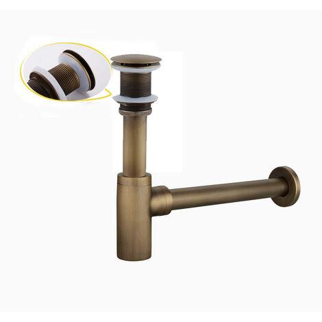 Siphon lavabo cylindrique en laiton