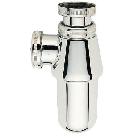 Siphon lavabo laiton chromé brillant