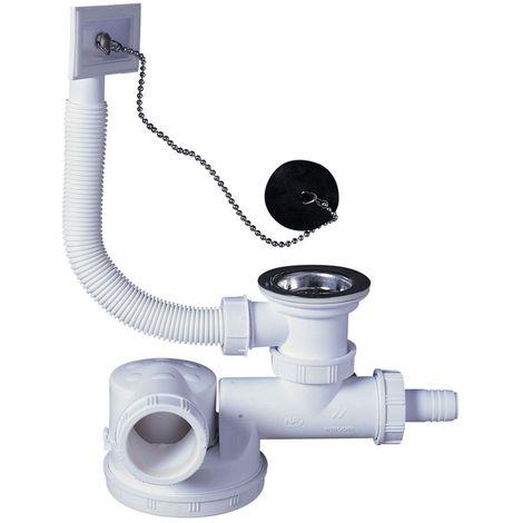 Siphon plat pour évier O 50 mm avec bonde et prise machine a laver et trop plein