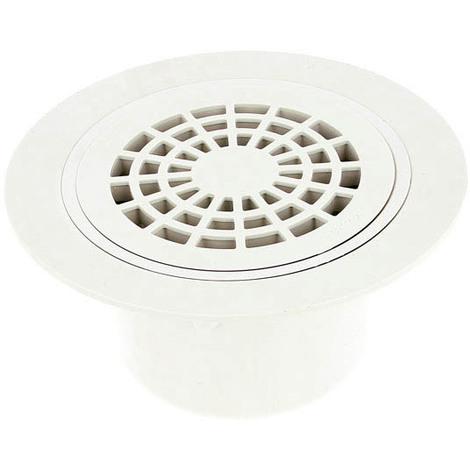 Siphon sortie verticale 50-63 sol plastique grille PVC blanc