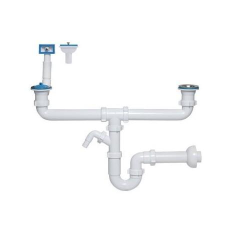 Siphon tubulaire pour évier 2bacs 70mm, trop plein rectangulaire, verticale/ horiz ,sortie machine à laver / lave-vaisselle 1239