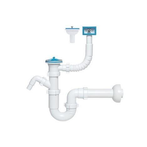 Siphon tubulaire pour évier un bac, 70 mm, trop plein rectang verticale / horizontale, sortie machine à laver / lave-vaisselle