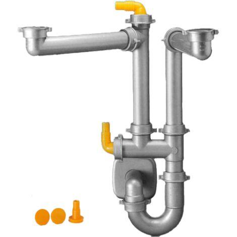 Siphon tubulure pour gain de place d'évier 2 cuves, gris métal