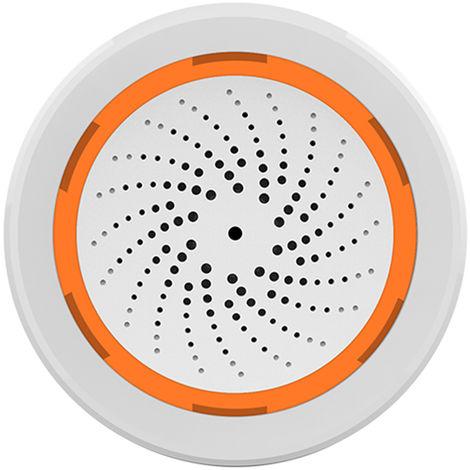 Sirena de alarma USB sensor inteligente Sirene alarma de temperatura y humedad del sensor del sonido y USB Luz de alarma Fuente de alimentacion Compatible con 2,4 GHz de Seguridad para el Hogar Zigbee trabajo con la pasarela