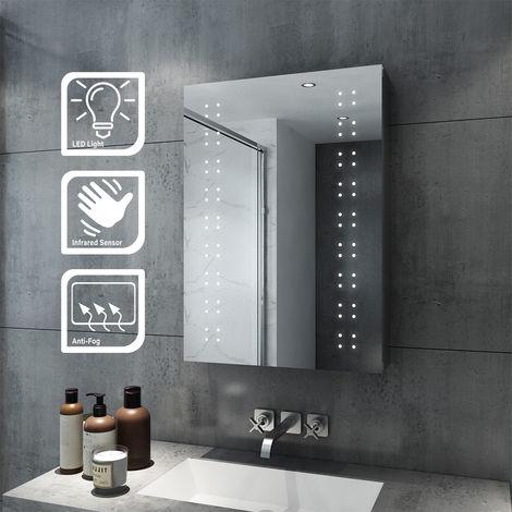 SIRHONA 50x70cm éclairage LED Miroir Cabinet En Acier Inoxydable Mural De Stockage Vertical Rectangle Salle De Bains Miroir Lumières Capteur Commutateur avec Tampon Anti-buée