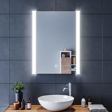 SIRHONA 60x80 CM Miroir de salle de bains avec éclairage LED Miroir Cosmétiques Mural Lumière Illumination avec Commande par Effleurement et demister