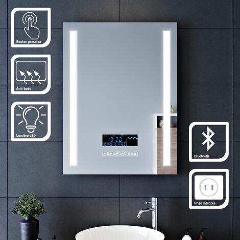 SIRHONA 60x80cm Miroir lumineux pour salle de bains à LED avec éclairage tactile Miroirs de maquillage et de rasage avec anti-buée   Fonction d'horloge   Audio Bluetooth   Prise rasoir