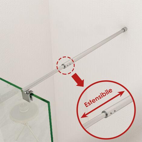 SIRHONA Barre de stabilisation de verre en acier inoxydable Barre de stabilisation pour paroi de fixation paroi de douche barre de fixation avec barre de réglage extensible 700-1200 mm, chrom poli