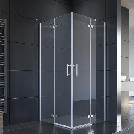 SIRHONA Cabine de douche coulissante hauteur 195cm Angle cabine de douche sans cadre Porte de douche avec 6mm verre trempé sécurit, Cabine à douche charnière