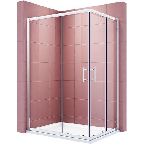 SIRHONA Cabine de douche Entrée d'angle Verre trempé Installation réversible Portes coulissantes carrées